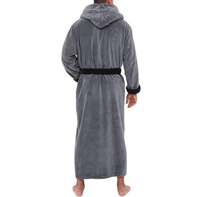Mens Hooded Flannel Bathrobe 5