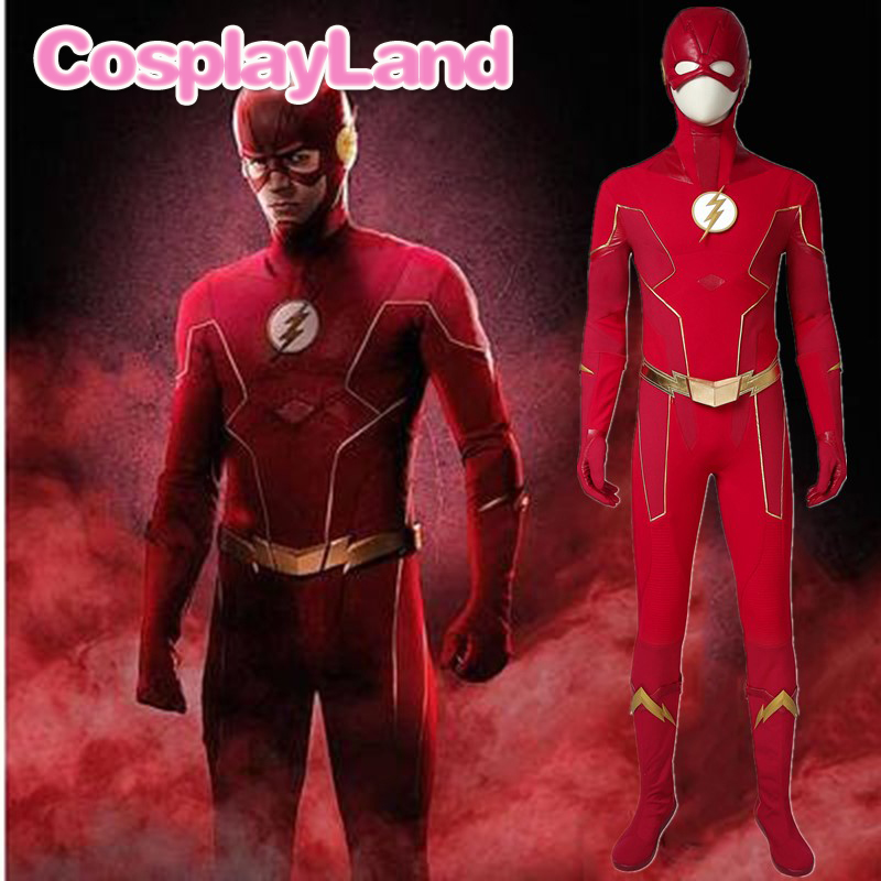 <font><b>The</b></font> <font><b>Flash</b></font> Season 6 Costume Barry Allen <font><b>Cosplay</b></font> Outfit <font><b>Flash</b></font> Jumpsuit Halloween Carnival Party Adult Uniform <font><b>Boots</b></font> Custom Made image