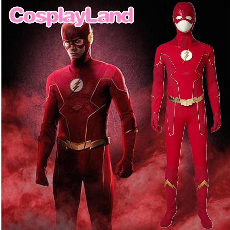 Die Flash Saison 6 Kostüm Barry Allen Cosplay Outfit Flash Overall Halloween Karneval Party Erwachsene Uniform Stiefel Nach Maß