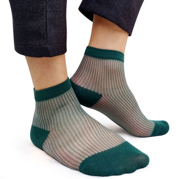 Men Nylon silk socks Striped Green See Through Sheer Thin Formal Dress Socks for Business male Sexy