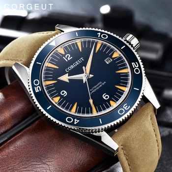 Corgeut Luxus Marke Seepferdchen Mechanische Uhr Männer Automatische Sport Uhr männer Design Leder Mechanische Handgelenk 2013B