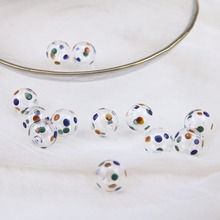 1pcs diy handmade jewelry paint transparent little round glass bubble earrings hair ornaments beaded material accessories vintage acrylic matte rubber paint straight hole pumpkin beads hair accessories beaded drop earrings for women diy ear jewelry
