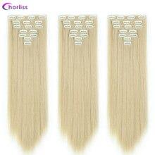 Extensões de cabelo sintético longo em linha reta grampo em extensões de cabelo 22