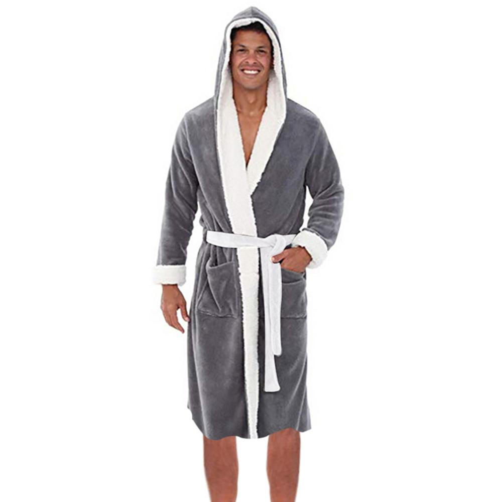 Plus Size Men's Winter Plush Lengthened Shawl Bathrobe Casual Solid Color Homewear Clothes Long Sleeved Robe Coat For Male