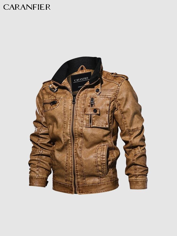 CARANFIER hommes vestes en cuir moto col montant poches à glissière hommes taille américaine PU manteaux Biker Faux cuir vêtements mode - 6