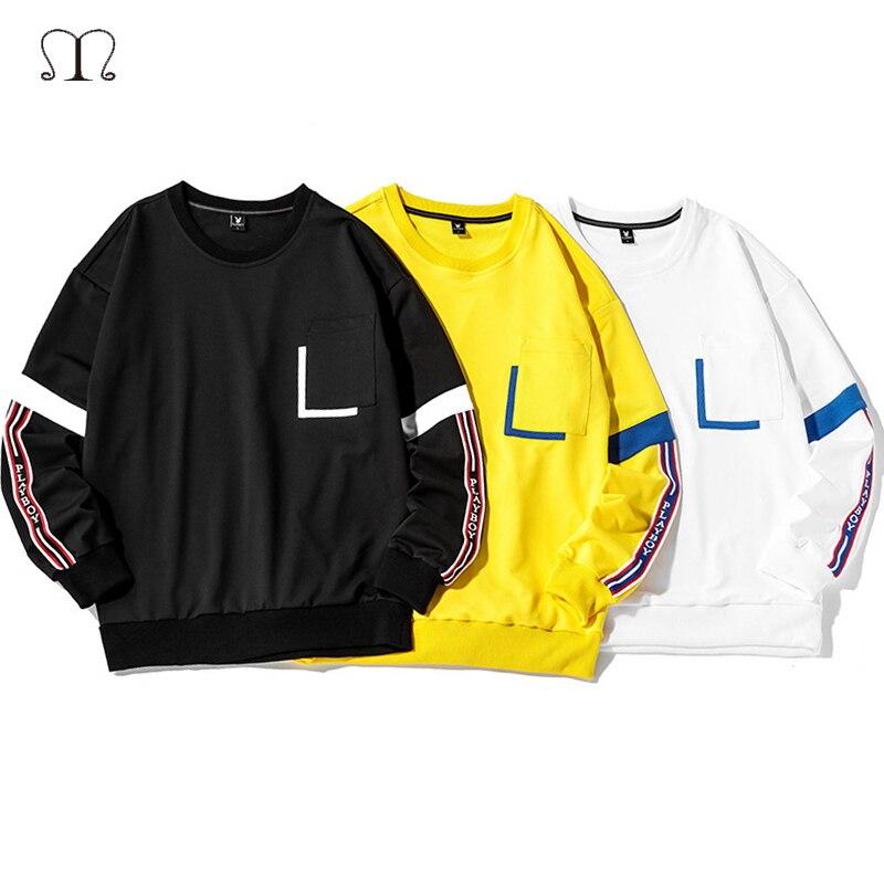 Harajuku Men Long Sleeve T Shirts Fashion 2020 Funny Print Tees White Black Tee Tops Street Wear Male Hip Hop Hoodies T-shirt