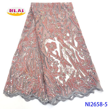 NIAI African Velvet Lace Fabric Embroidered Nigerian Lace Fabrics 2020 High Quality French Tulle Lace Fabric For Dress NI2658-5