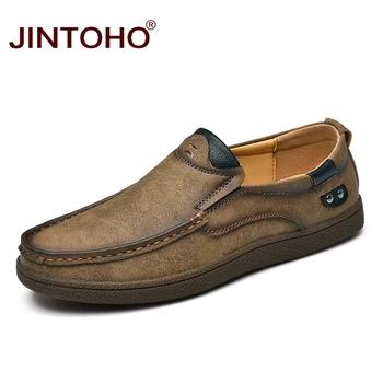 JINTOHO moda marka mężczyźni buty mężczyźni oryginalne skórzane buty przypadkowi mężczyźni buty męskie skórzane buty Slip On Men mokasyny tanie i dobre opinie Prawdziwej skóry Skóra bydlęca RUBBER Slip-on Pasuje prawda na wymiar weź swój normalny rozmiar Podstawowe Mieszane kolory