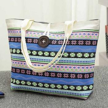 Large Summer Shoulder Tote Beach Bag Coloured Stripes