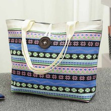 Free Shopping Handbag High Quality Women Girls Canvas Large Striped Summer Shoulder Tote Beach