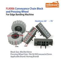 Almohadilla de rodillo de rueda de prensado para bloque de cadena, cinta transportadora para máquina de anillado de bordes, 80x30mm, 10 unids/lote, FLK006