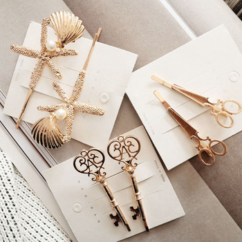 2pcs Creative Starfish Scissors Shape Women Lady Girls Hair Clip Delicate Pearl Hair Pin Hair Barrette Hair Accessories