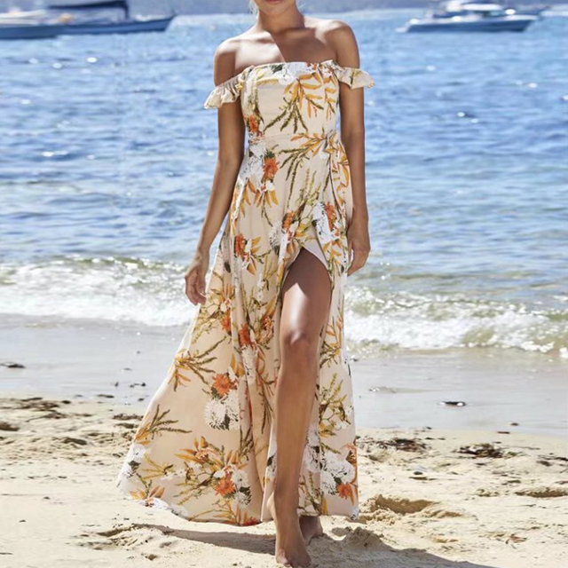 TEELYNN off shoulder maxi dresses sexy Side split boho dress floral print summer Dresses beach Gypsy women dress Vestidos