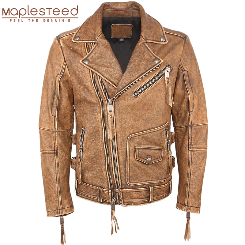 Vintage Motorcycle Jacket Slim Fit Thick Men Leather Jacket 100% Cowhide Moto Biker Jacket Man Leather Coat Winter Warm M455