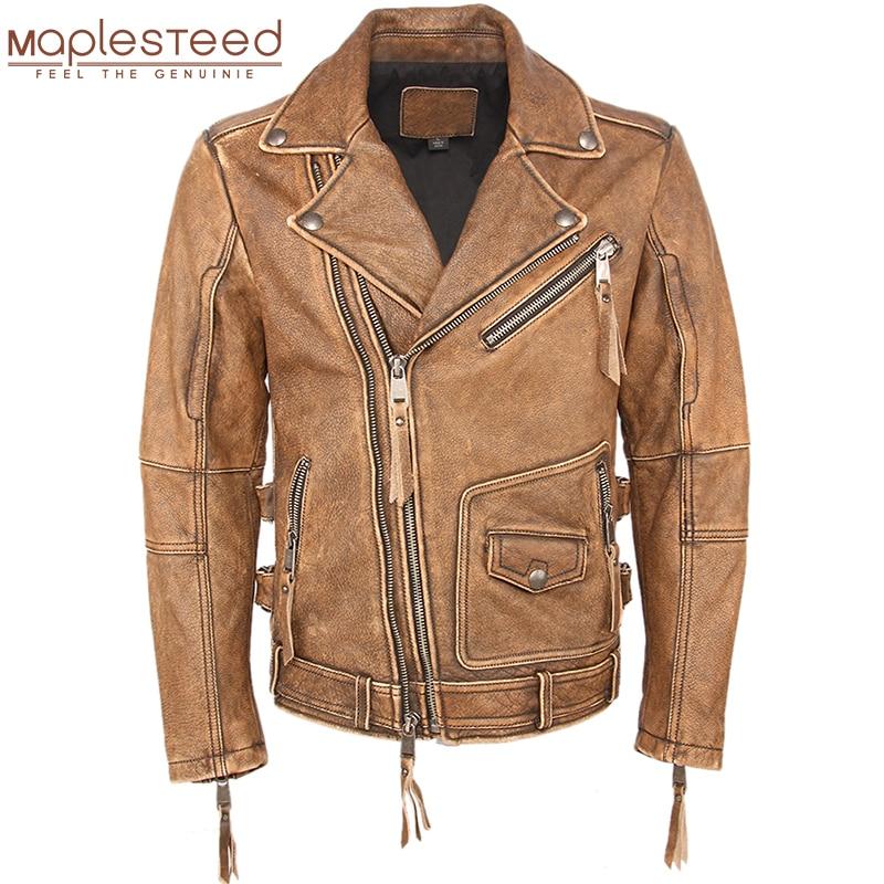 Vintage Motorcycle Jacket Slim Fit Thick Men Leather Jacket 100 Cowhide Moto Biker Jacket Man Leather Innrech Market.com