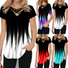 Summer Women Gradient Print Fashion Casual Short Sleeve V Neck T-shirt Top Elegant Plus Size Oversize Streewear Shirt Clothes