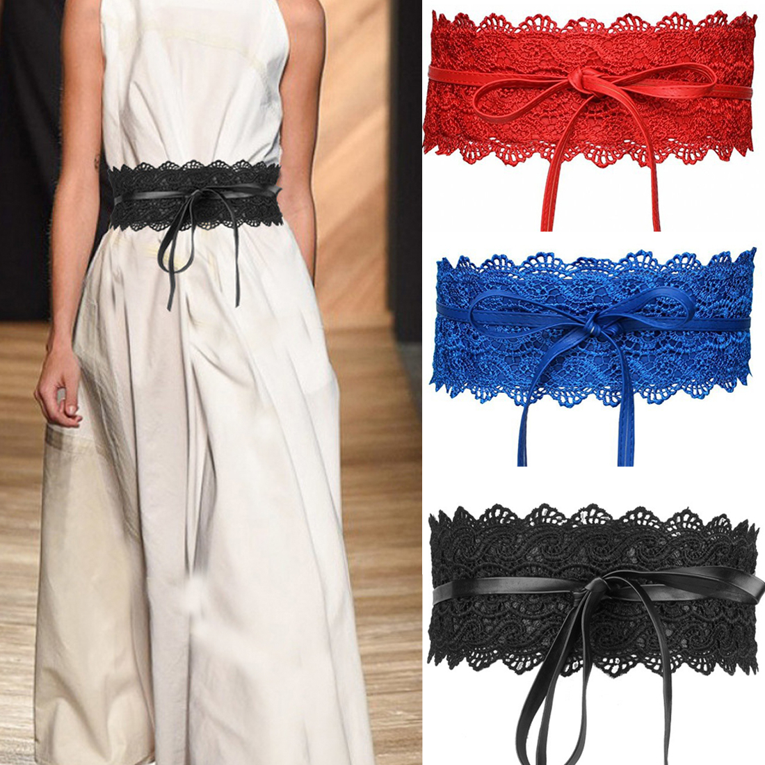 Fashion Women Dress Bowknot Soft Faux Leather Lace Wide Decor Belt Female Bowknot Weaving Belt Boho  Wide Floral Tie Waist Band
