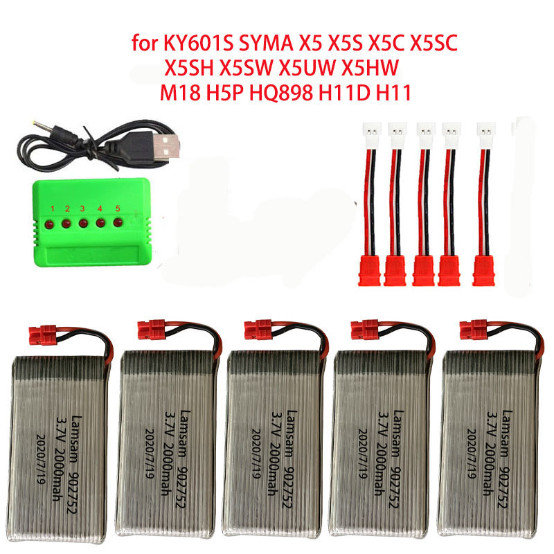 Lipo 3.7v 2000mAh Bateria para SYMA KY601S X5 X5S X5C X5SC X5SH X5SW X5UW X5HW M18 H5P HQ898 H11D H11C Zangão