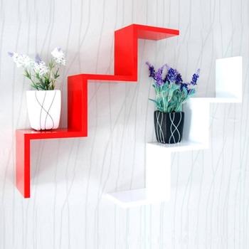 Kreatywna półka ścienna półka ścienna W kształcie litery W półka ścienna półka ścienna dekoracja ścienna W tle rama c tanie i dobre opinie Wiszące Nowoczesne Drewna