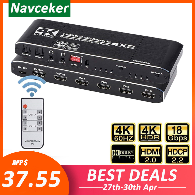 2020 4K@60Hz HDMI Matrix 4x2 Switch Splitter Support HDCP 2.2 IR Remote Control HDMI Switch 4x2 Spdif 4K HDMI 4x2 Matrix Switch(China)