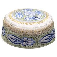 Еврейская кипа Мужские Шапки Мусульманский мусульманский шапочка для молитвы шапка с синей вышивкой мусульманская одежда шарф шапка