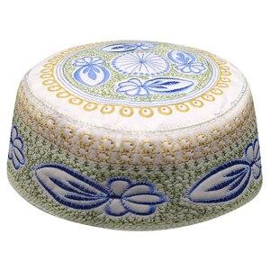 Image 1 - Jewish Kippah Men Yarmulke Hats Muslim Musulman Indio Prayer Hat Caps Blue Embroidery Islamic Clothing  Scarf Cap