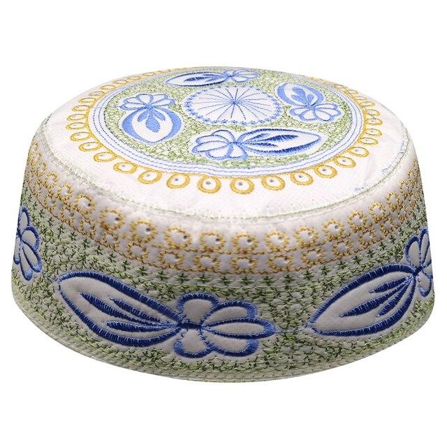 Jewish Kippah Men Yarmulke Hats Muslim Musulman Indio Prayer Hat Caps Blue Embroidery Islamic Clothing  Scarf Cap