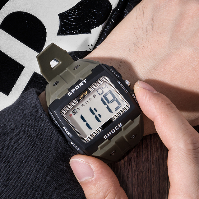 Big Numbers Men Sport Watch Digital Multifunction Alarm Chrono 5Bar Waterproof Back Light Square Screen 5