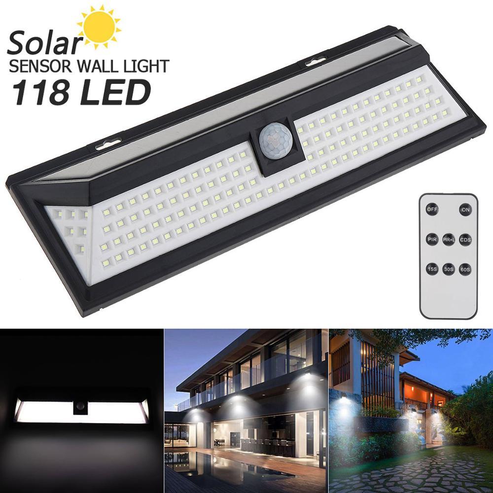 Remote Control 1000LM 118 LED Solar Lamp PIR Motion Sensor Waterproof IP65 270 Degree Outdoor Park Garden Security Wall Light