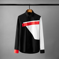 Minglu Contrast Color Mens Shirts Luxury Geometry Splicing Long Sleeve Mens Dress Shirts Fashion Slim Fit Casual Man Shirts