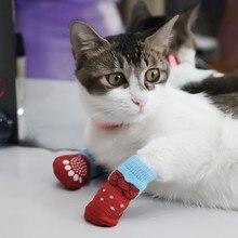 Зимние носки для домашних собак Нескользящие вязаные носки обувь для маленьких собак и кошек Чихуахуа толстые теплые Защитные носки для собак аксессуары для домашних животных