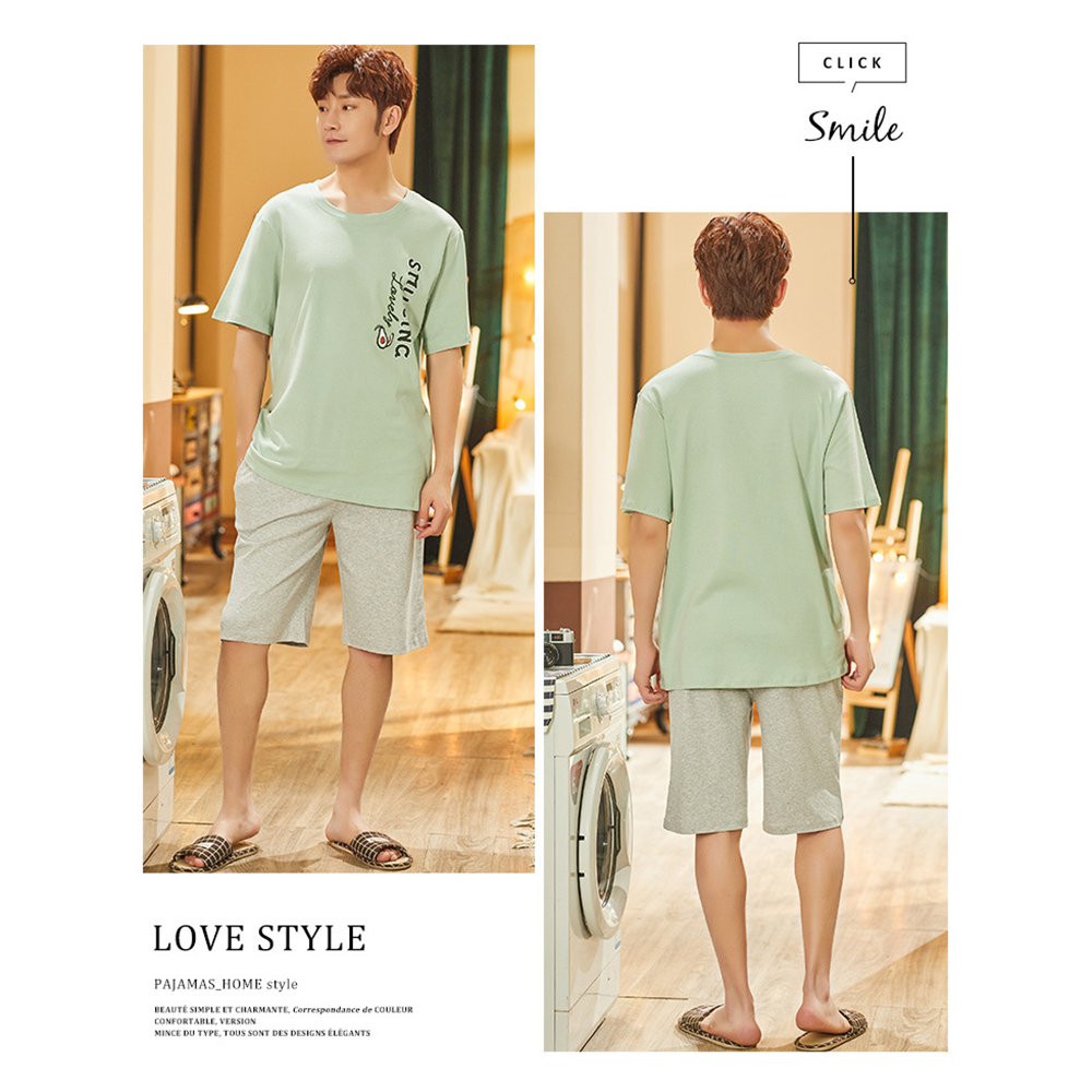Casual Men Pajamas Sets 2pcs Summer Cotton Short-sleeved and Shorts Pajamas Set Home Suit Multi Styles Plus Size Mens Sleepwear
