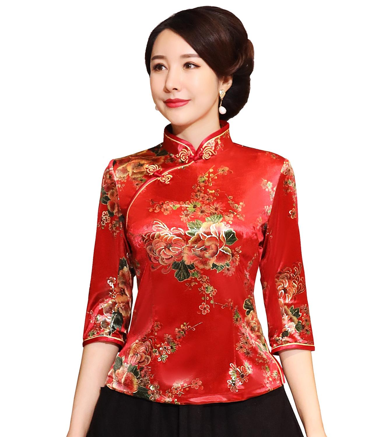Shanghai Story Chinese Button Woman's Shirt Chinese Traditional Top 3/4 Sleeve Cheongsam Top Velvet Traditional Chinese Blouse