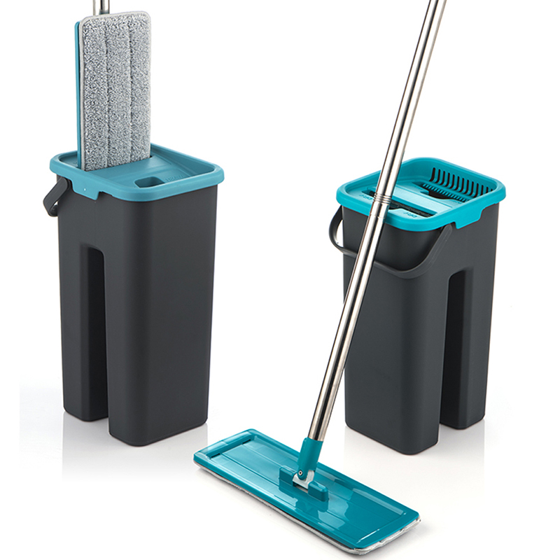 Flat Squeeze Mop and Bucket Hand Free Wringing Floor Cleaning Mop Microfiber Mop Pads Wet or Dry Usage on Hardwood Laminate Tile 1