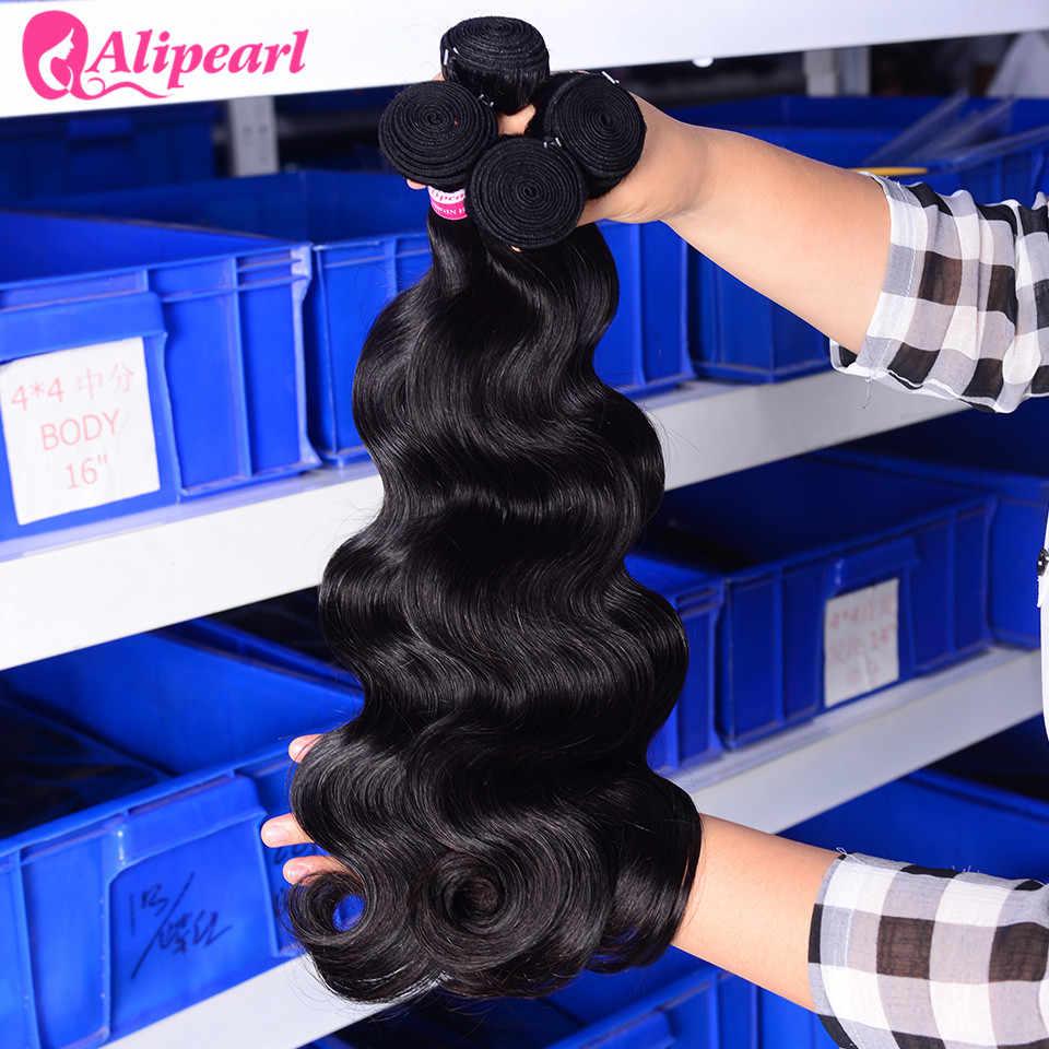 AliPearl Cabelo Onda Do Corpo Peruano Feixes 4 pçs/lote 8-30 4 Bundles Onda Do Corpo Do Cabelo Humano polegadas Extensões de Cabelo Remy Cor Natural