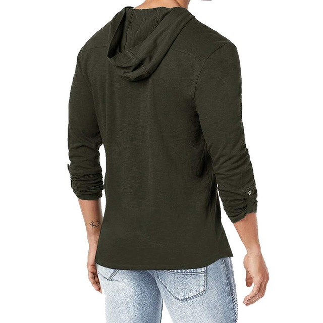 Hooded Long Sleeve Cotton Medieval Shirt