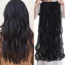 Shangke 100 cm longo ondulado feminino grampo em extensões de cabelo resistente ao calor sintético cabelo peça preto cor penteado