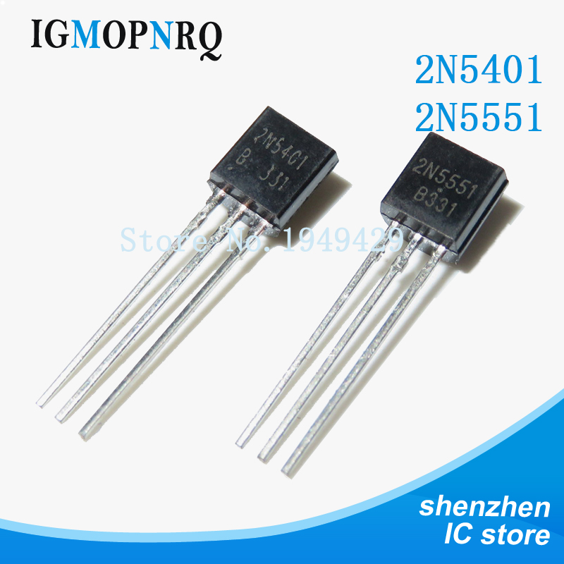 100PCS Free Shipping 2N5551 2N5401 5551 5401 TO-92 (50PCS* 2N5401+50PCS* 2N5551 ) Bipolar Transistors - BJT PNP Gen Pr Amp