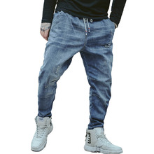 цена на Men denim Stretchy Ripped Skinny Biker Embroidery Jeans Destroyed Hole Taped Slim Fit Denim Scratched High Quality Jean loose