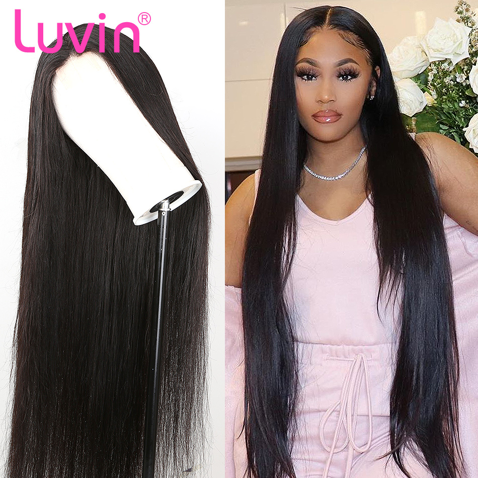Luvin 150 Density Straight 2x6 13x4 Front Wig Lace Frontal Wigs L Deep Part Brazilian Human Hair Pre Plucked With Baby Hair