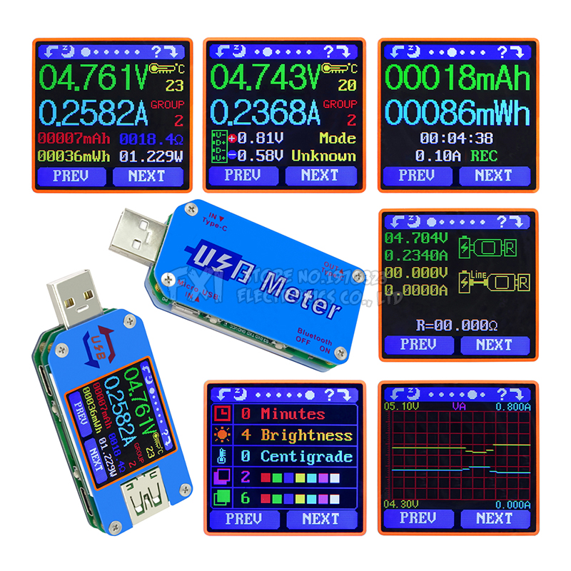 UM25 UM25C for APP USB 2.0 Type C LCD Voltmeter ammeter voltage current meter battery charge cable resistance usb Tester Module|Integrated Circuits| |  - title=