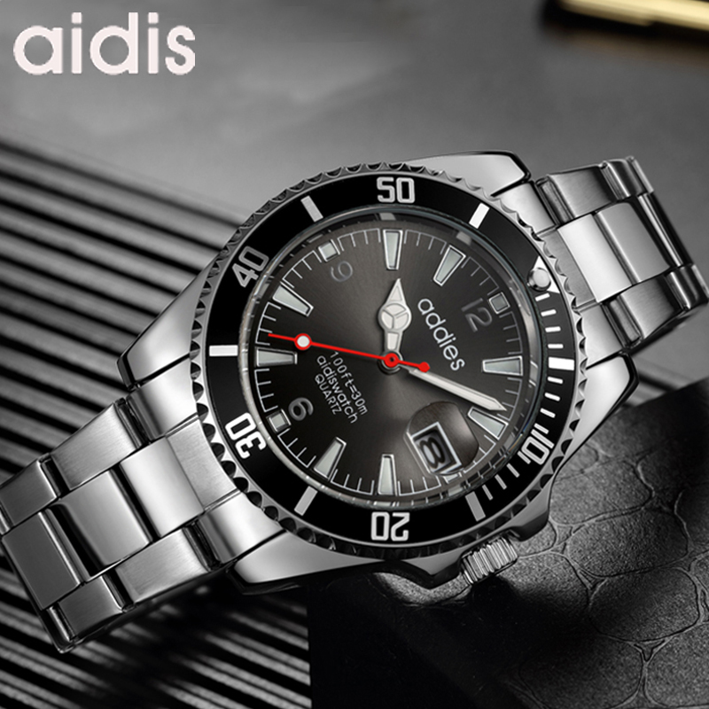 ADDIES Man Watch Top Brand Reginald Watch Men Sports Watches Rotatable Bezel GMT Sapphire Glass Date Stainless Steel Watch Gifts