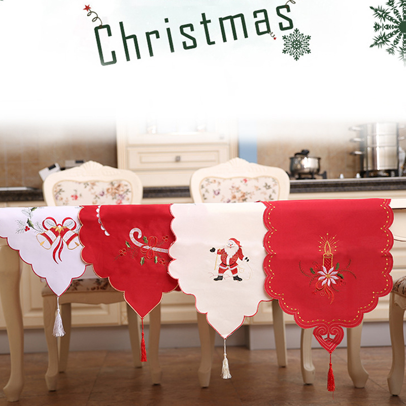 Christmas Dinning Table Runner Hollow Flag Ornaments Santa Claus Table Runner Home Party Room Wedding Table Xmas Decoration