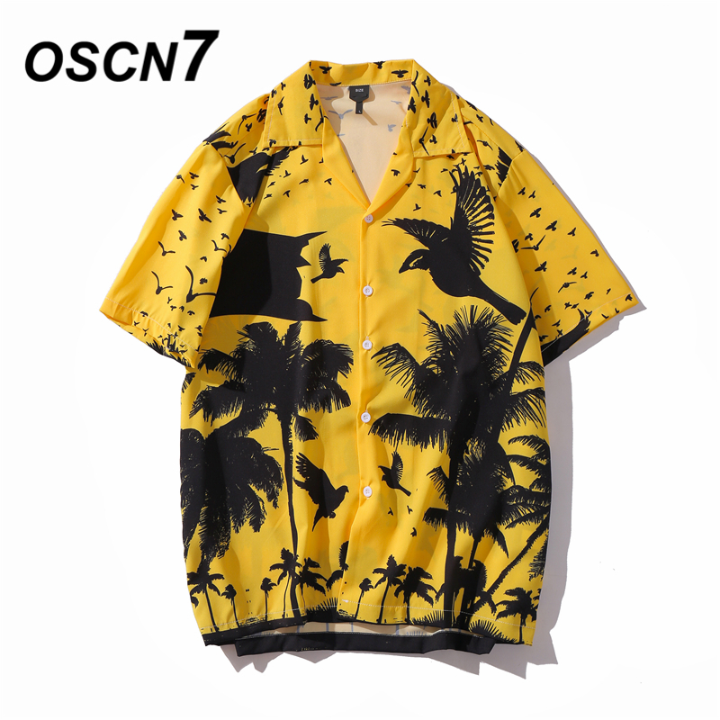 OSCN7 Casual Printed Short Sleeve Shirt Men Street 2020 Hawaii Beach Oversize Women Fashion Harujuku Shirts For Men XQ82