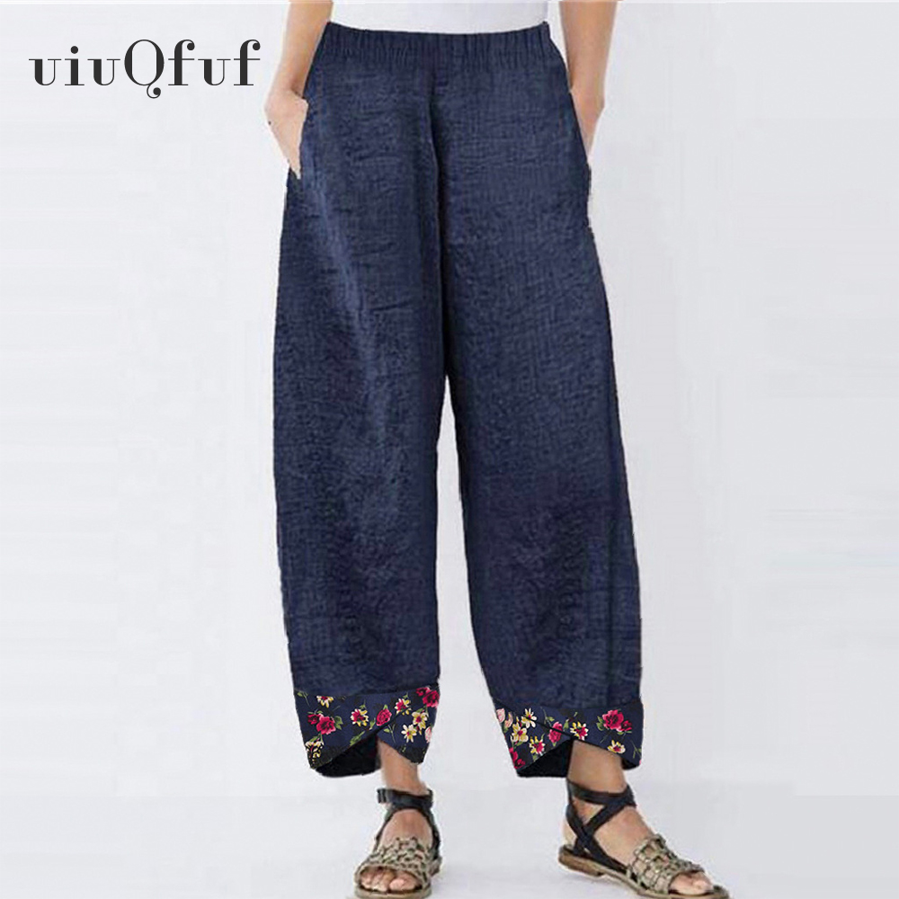 5XL Plus Size Trousers Women Vintage High Waist Casual Floral Printed Harem Female Pants Oversize Pockets Elastic Waist Mujer