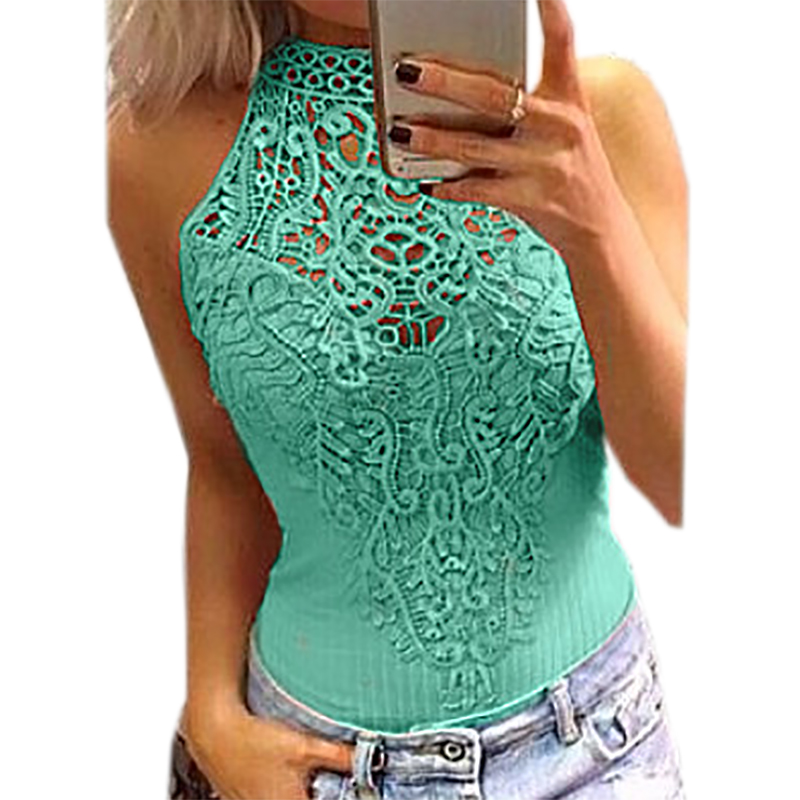 Lace Patchwork Hollow Out Women Bodysuit Solid Sexy Body Sleeveless Bodycon O-neck Cut Out Overalls Jumpsuit 2020 Rompers GV777