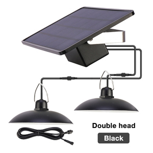LED Solar Pendant Light Outdoor Indoor Solar power Lamp With Line Bulb Shed Light Lighting For Home Garden Yard Double Head Lamp