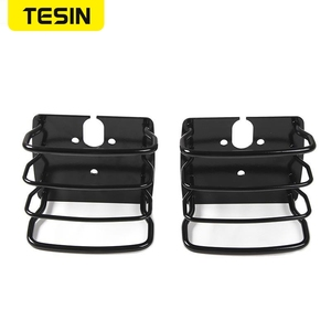 Image 2 - TESIN Metal Auto Tail Light Cover Trim Frame Rear Lamp Guard Protective Sticker for Jeep Wrangler TJ 1997 2006 Car Styling