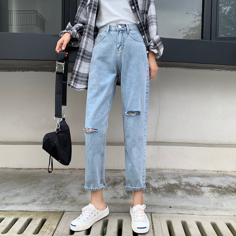 Cheap Wholesale 2019 New Spring Summer Autumn Hot Selling Women's Fashion Casual  Denim Pants BP0731