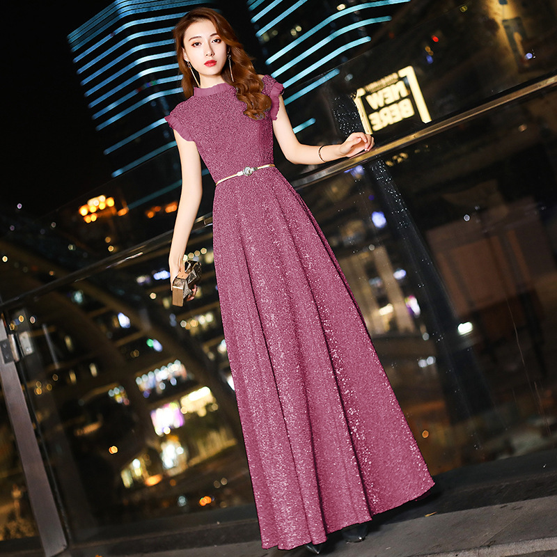 Luxury Sequins Young Lady Pleated Dress Cheongsam Round Neck With Lace Evening Party Gown Sexy Novelty Vestidos Prom Dresses